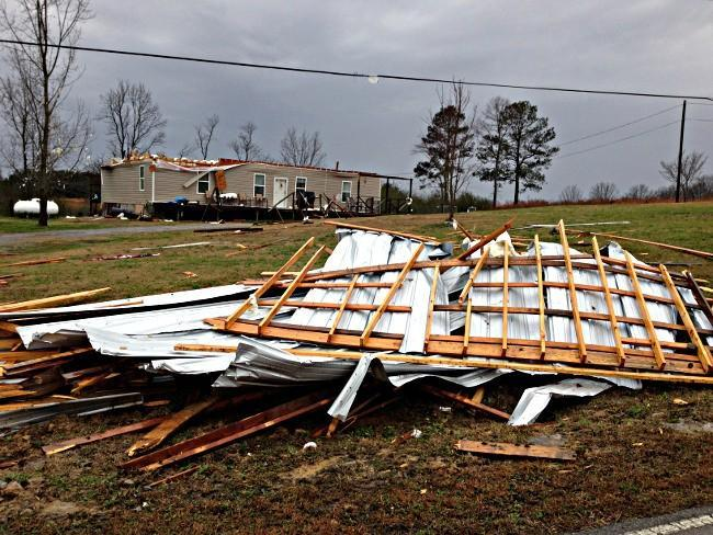 Debris from storm damage in Winston County.