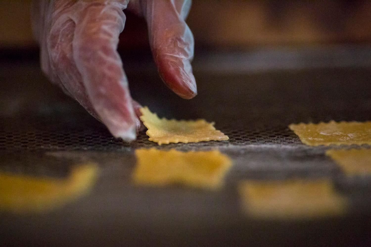 In the process of making the cappalletti, the filling was a mix of Proscuitto di Parma, Parmasean cheese and ricotta cheese (Image: Sy Bean / Seattle Refined).