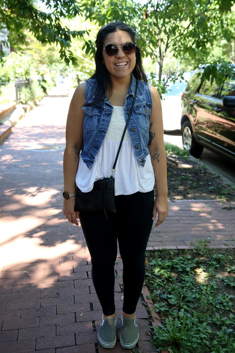 This denim vest is a fun way to layer, brought to you by Malia Aguiler. (Amanda Andrade-Rhoades/DC Refined)