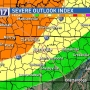 Strong to severe storms possible for northwest portion of Middle Tennessee Friday