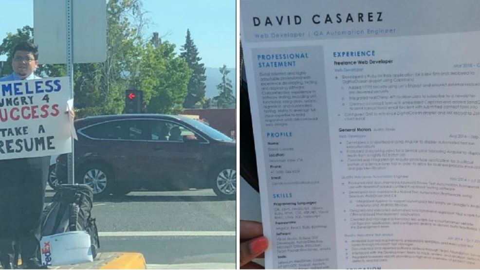 Homeless Man Handing Out Resumes At Intersection In California Goes