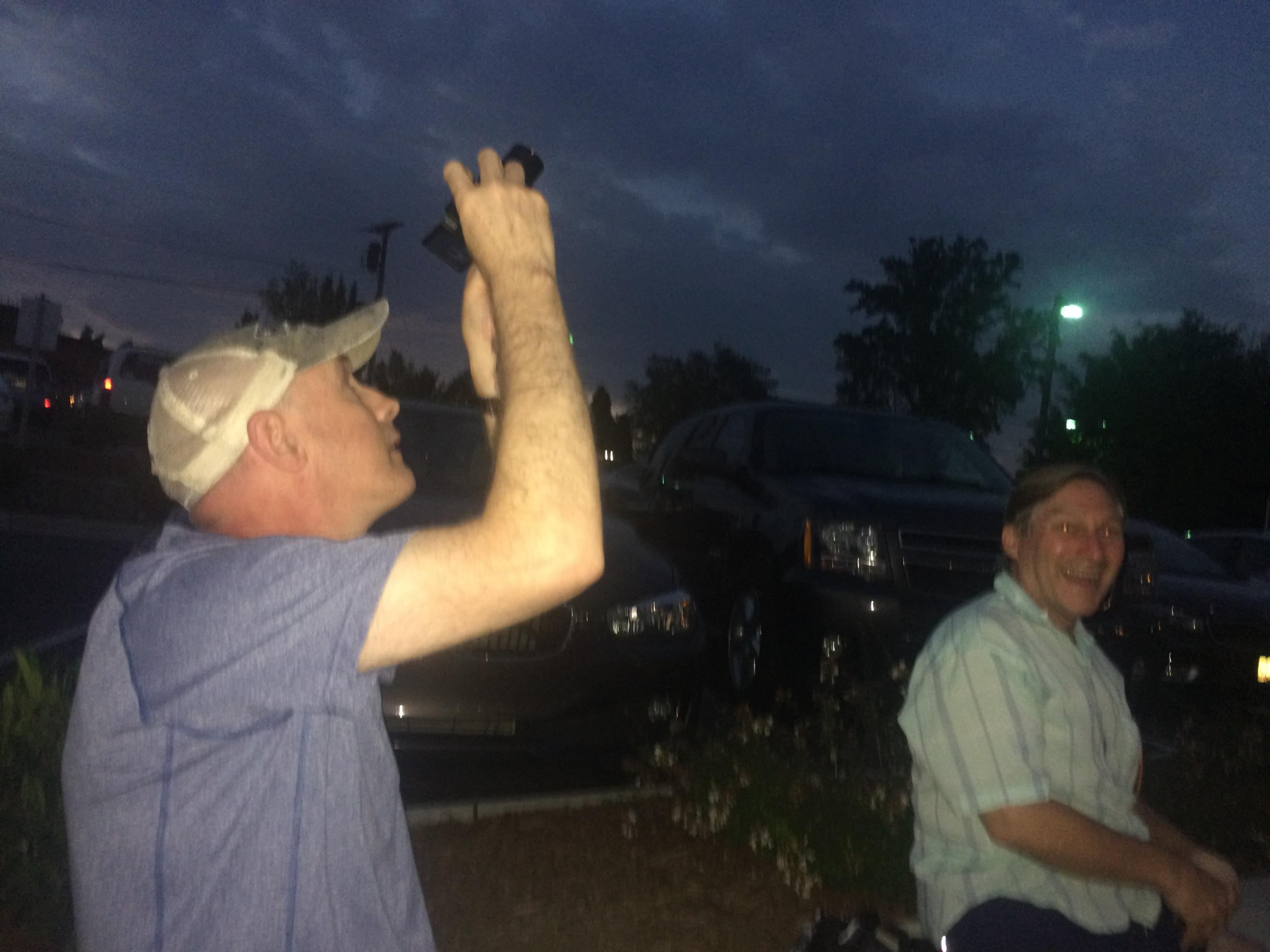 """It was really great to see the good people of Brevard shutting down from 2 to 3 o'clock,"" said Edward Strickler, who traveled with Jim Schneider from Charlottesville, Virginia. ""All the city offices closed and enjoying life together."" (Photo credit: WLOS Staff)"