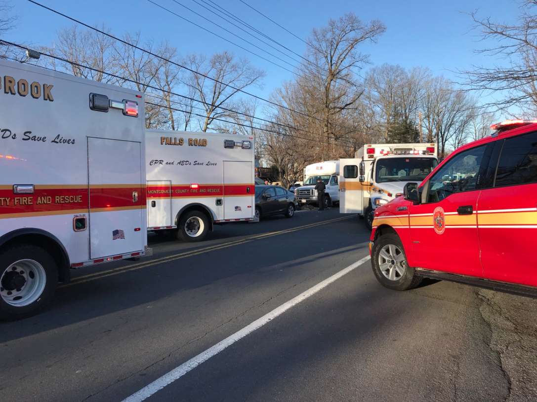Officials: Several injured in crash with bus in Montgomery County. (MCFRS)