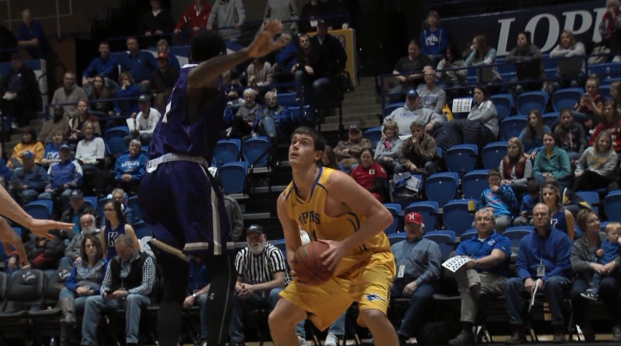 Trey Lansman prepares to drive to the basket during a game with the Lopers. (KHGI){&amp;nbsp;}<p></p>