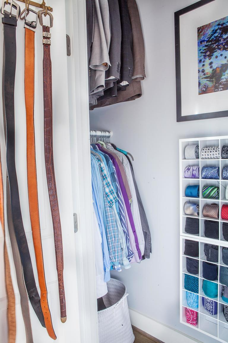 4. Fix and paint: Patch the dry wall, allow enough time for it to properly dry and then paint the entire closet. Also paint all of the wood shelving and cleats.(Image: Ashley Hafstead)