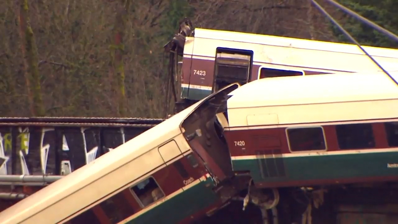 "An Amtrak train that <a href=""http://komonews.com/news/local/derailed-train-falls-off-bridge-onto-i-5-lanes-south-of-tacoma"" target=""_blank"">derailed near DuPont Monday morning</a> was going 80 mph in a 30 mph area just before the crash, according preliminary data reports given to the National Transportation Safety Board. (Photo: KOMO News)"