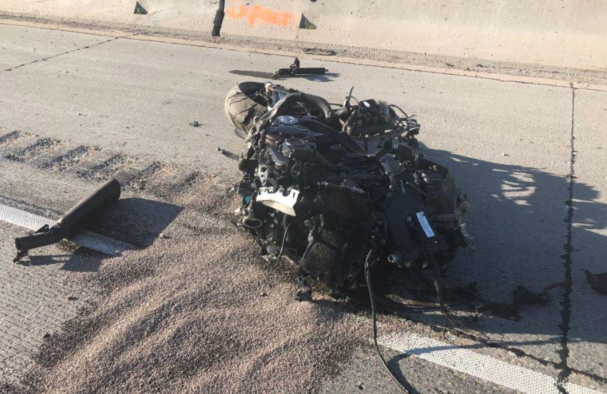 A motorcycle crash killed a man on I-84 Friday. (Photo: Bronagh Tumulty / KUTV)<p></p>