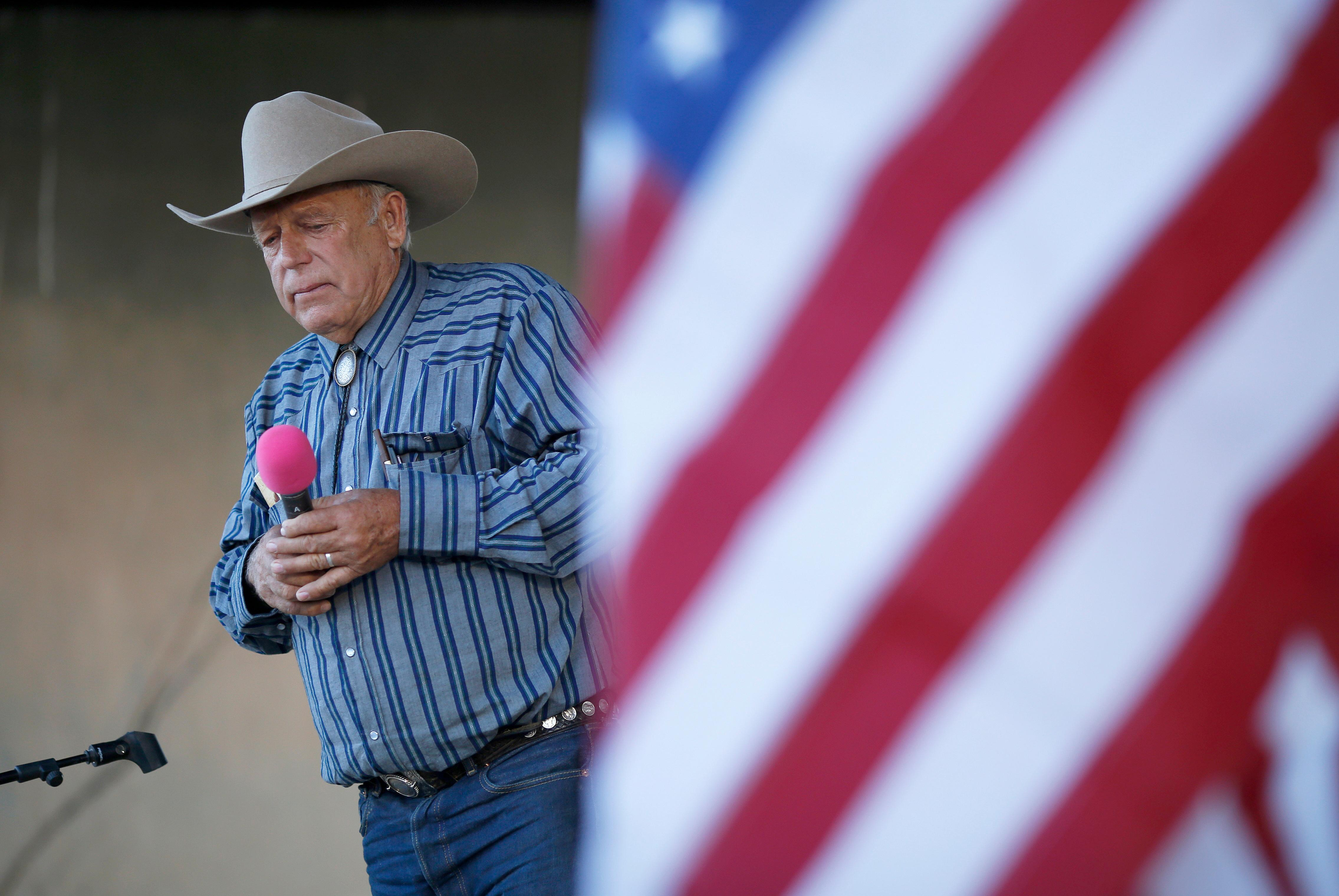 {&amp;nbsp;}File - In this April 11, 2015, file photo, rancher Cliven Bundy speaks at an event in Bunkerville, Nev. Bundy has long resisted federal control of public land, culminating in an armed standoff in 2014 on U.S. Bureau of Land Management acreage in Nevada. Some Western lawmakers are arguing that BLM headquarters should be moved from Washington, D.C., to the West, where most public lands are. (AP Photo/John Locher, File)<p></p>