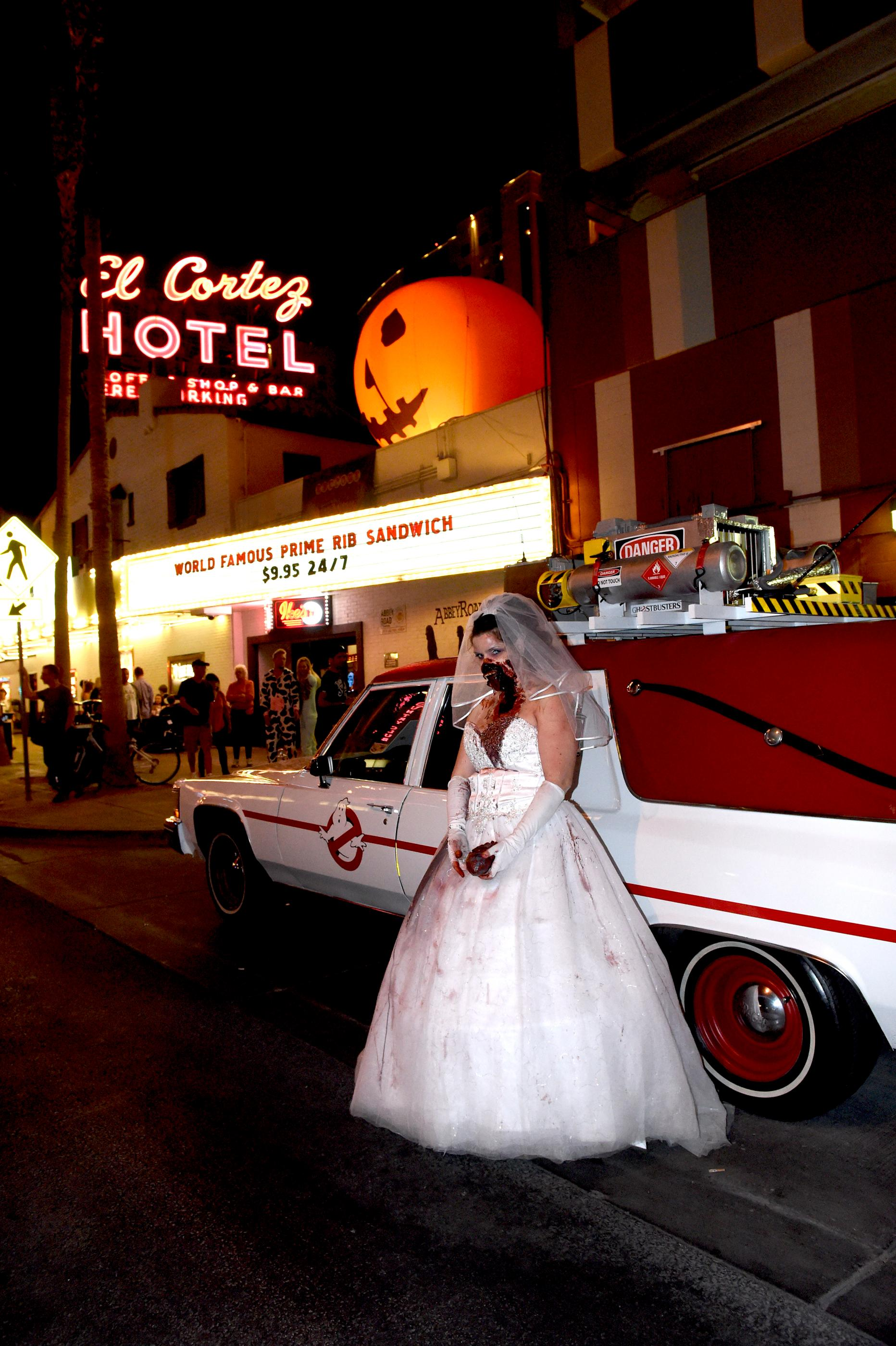 Crowds gather in costume to watch and participate in the Sin City Halloween Parade in the East Fremont District. Saturday, October 28, 2017. [Glenn Pinkerton/Las Vegas News Bureau]