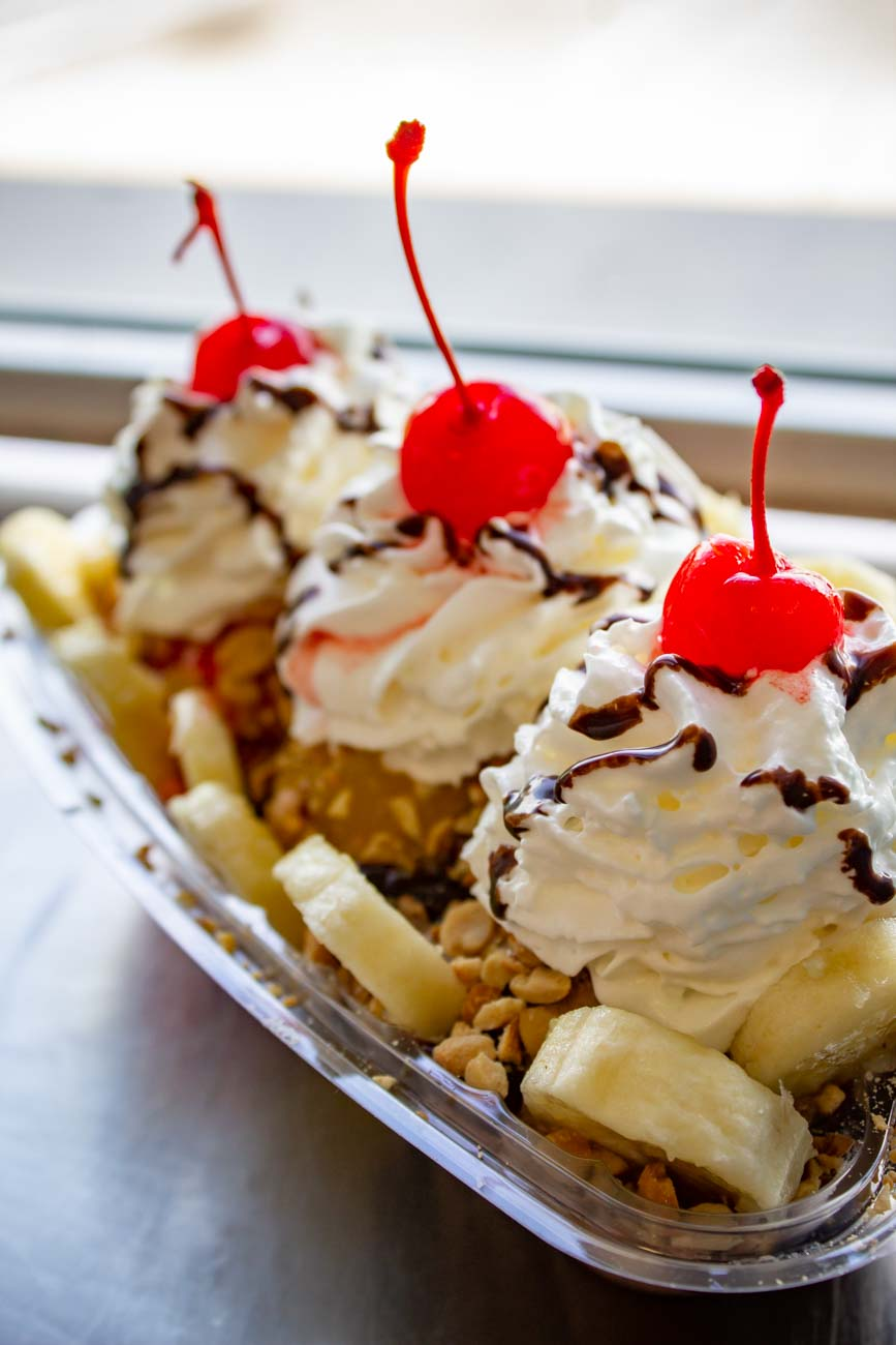 Banana Split: vanilla, chocolate, and strawberry ice cream; pineapple and strawberry sauces; hot fudge, whip cream; peanuts; and banana slices / Image: Katie Robinson, Cincinnati Refined // Published: 9.3.20