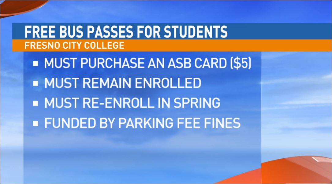 Free bus passes for Fresno City College students