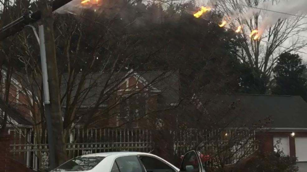 VIDEO: Car crash into power pole briefly knocks out power to Dalton ...