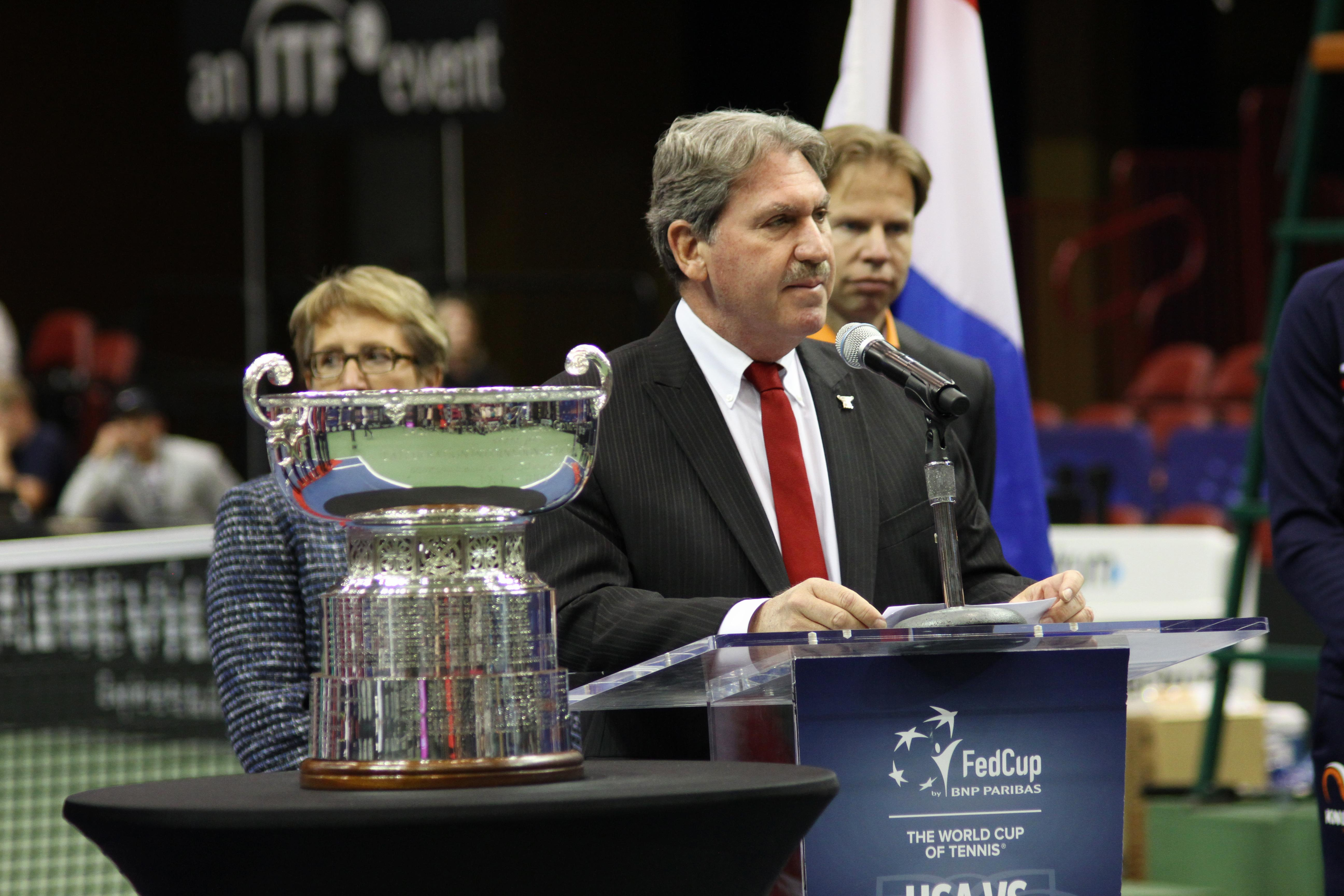 Team USA and Team Netherlands attend a draw ceremony on Feb. 9, 2018, to determine the schedule for the Fed Cup. The event was held at the US Cellular Center in Asheville, North Carolina. (Photo credit: Kelly Doty)