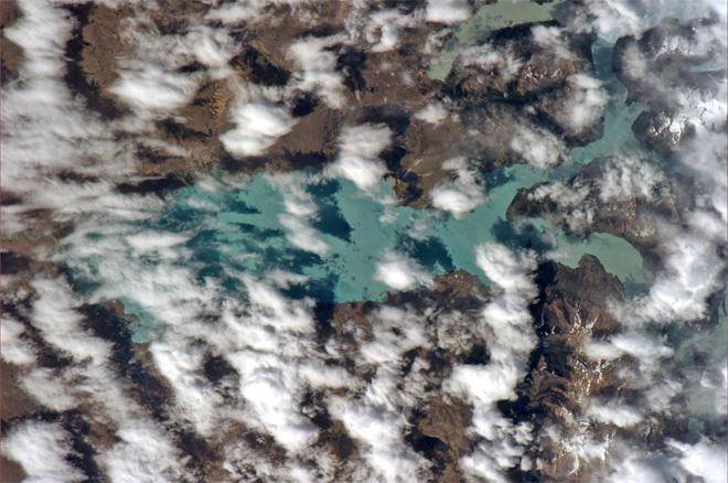 Lots of time over South America today. What makes these lakes in Patagonia so green? (Photo & Caption: Rick Mastracchio, NASA)