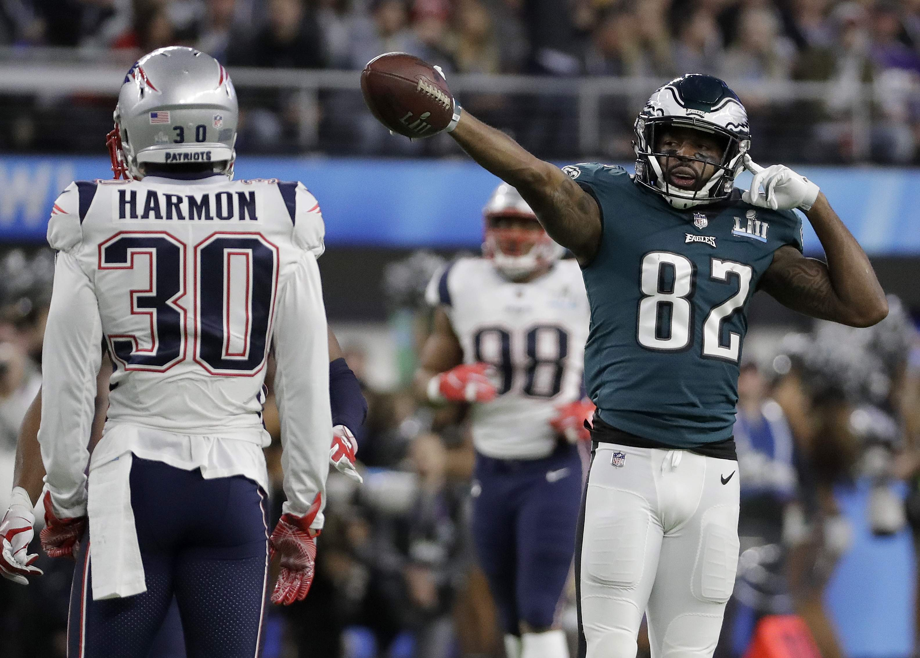 Philadelphia Eagles' Torrey Smith reacts to his first down catch during the first half of the NFL Super Bowl 52 football game against the New England Patriots Sunday, Feb. 4, 2018, in Minneapolis. (AP Photo/Mark Humphrey)