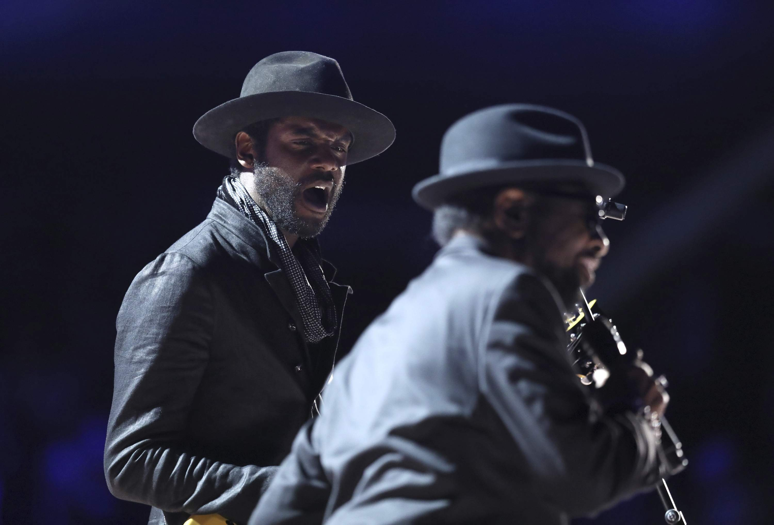 Gary Clark Jr., left, and William Bell perform 'Born Under a Bad Sign' at the 59th annual Grammy Awards on Sunday, Feb. 12, 2017, in Los Angeles. THE ASSOCIATED PRESS