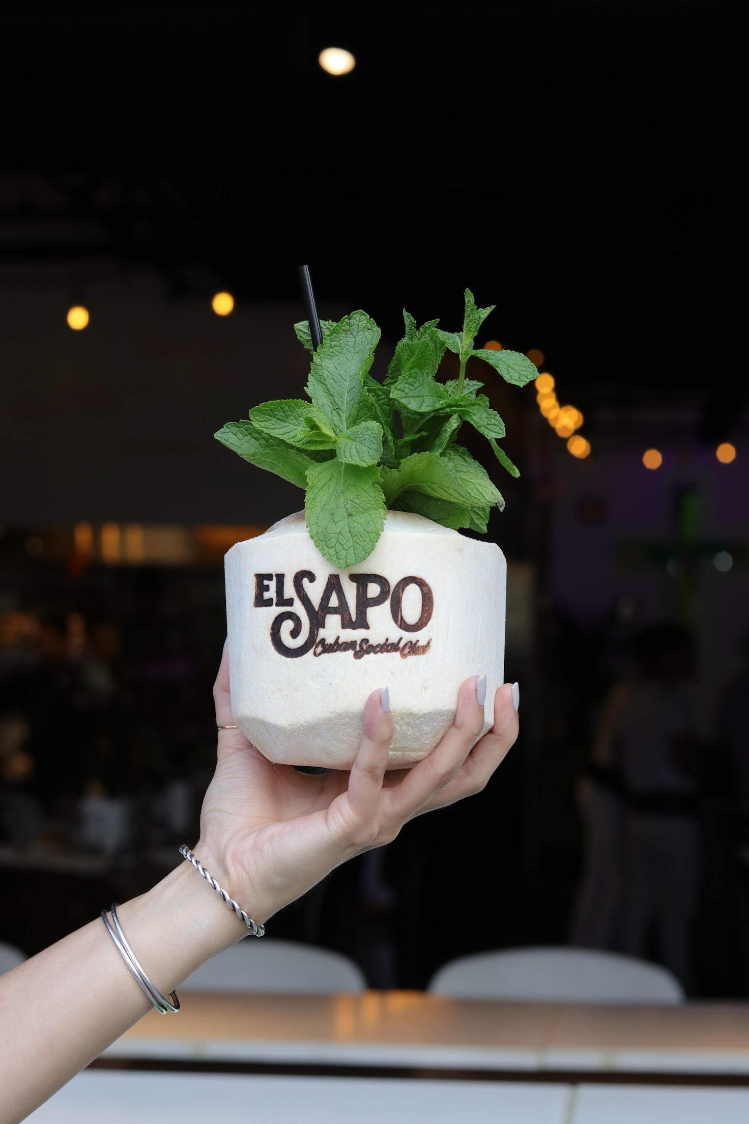 In the mood for a cocktail that doubles as Instagram bait? Order the fresh coconut, its top lopped off and plenty of rum poured in. (Image: Courtesy El Sapo's)