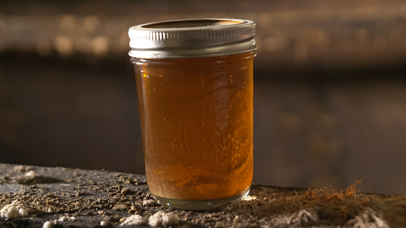 A jar of wort, a sort of pre-beer beer, into which the harvested yeast from the old vat was dropped.{ }/ Image courtesy of{ }Seven/Seventy-Nine Video // Published: 11.5.18