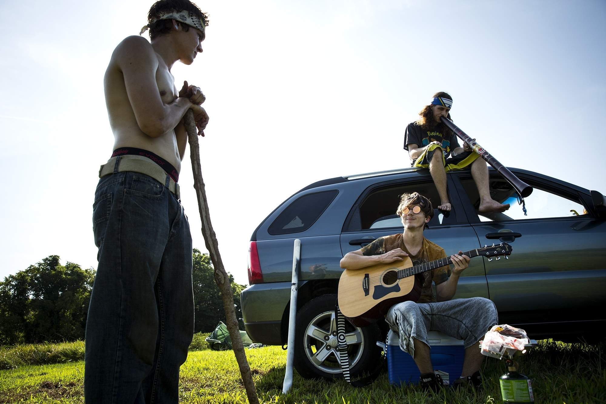 Thomas Kasper, left, Kyle Mohr and his brother Braden, relax while waiting for the solar eclipse in Giant City State Park Monday, Aug. 21, 2017 in Carbondale, Ill. The three, and another friend, drove overnight from Merrill, Wis., arriving at 1 a.m. [Rich Saal/The State Journal-Register]