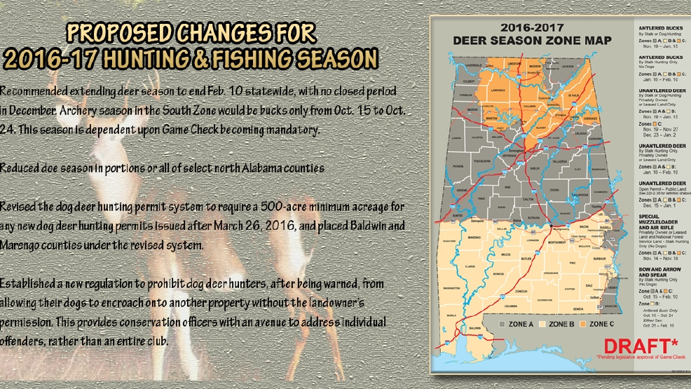 proposed changes to alabama hunting and fishing