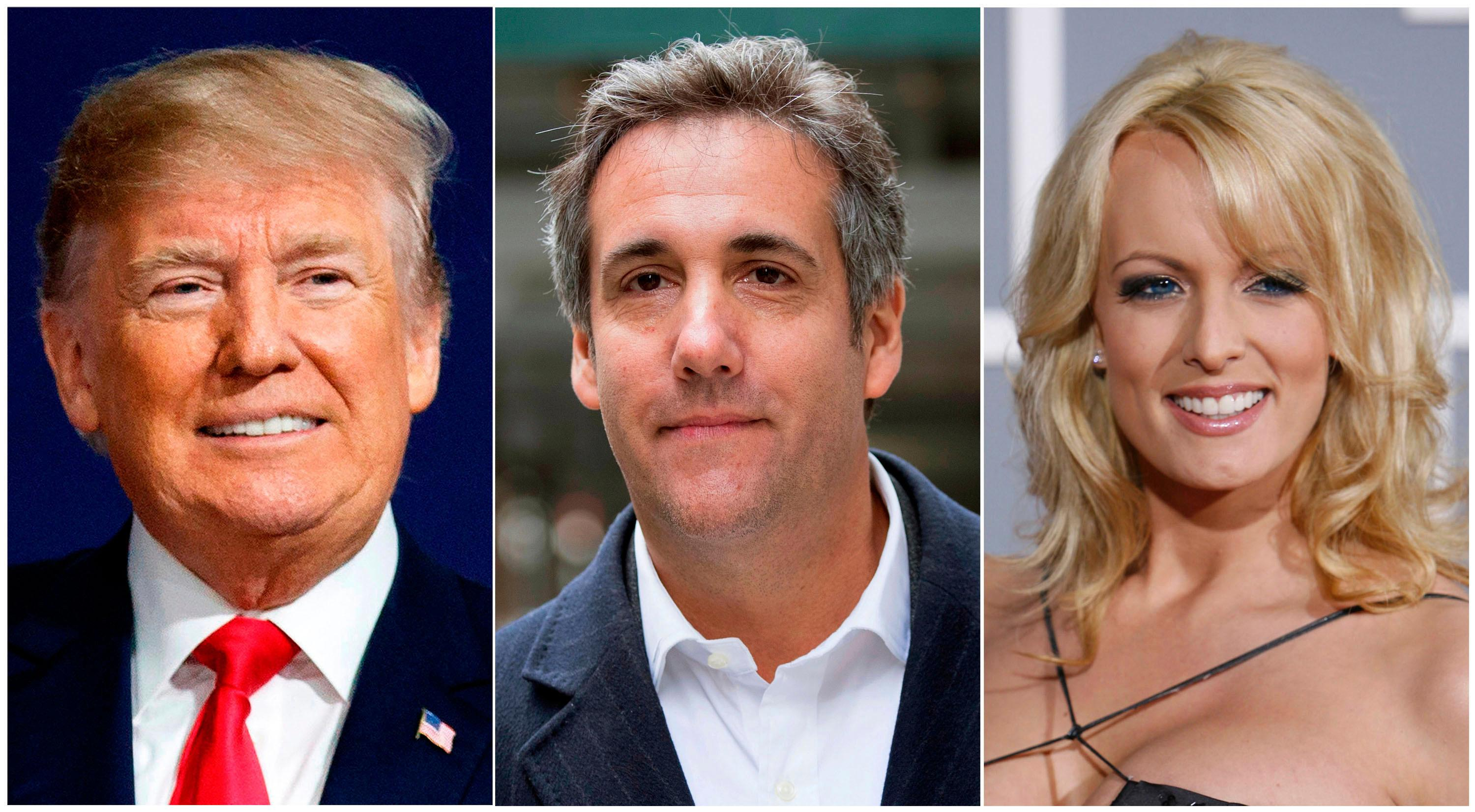 This combination photo shows, from left, President Donald Trump, attorney Michael Cohen and adult film actress Stormy Daniels. (AP Photo)