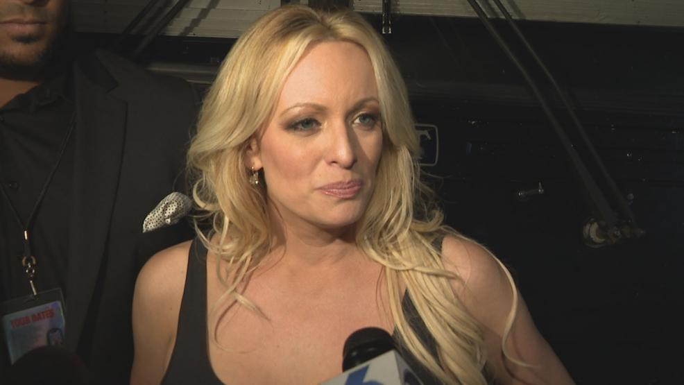 FILE - Stormy Daniels speaking to the media about her wrongful arrest after being released from a Central Ohio jail.{ } (WSYX/WTTE)