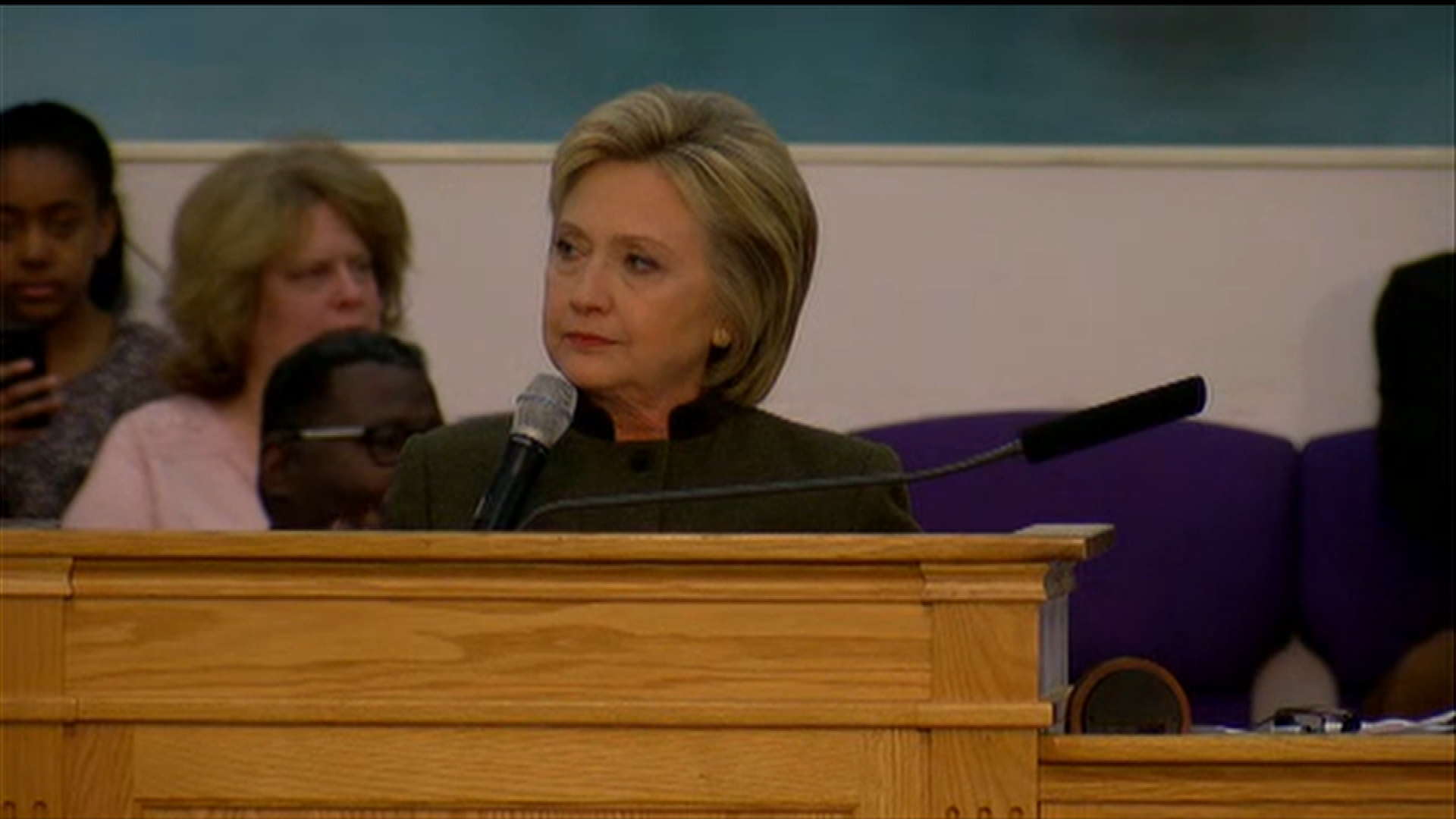 Former Secretary of State and Democratic presidential candidate Hillary Clinton addressed a packed crowd at House of Prayer Missionary Baptist Church. (Photo: Malik Ali / WEYI)