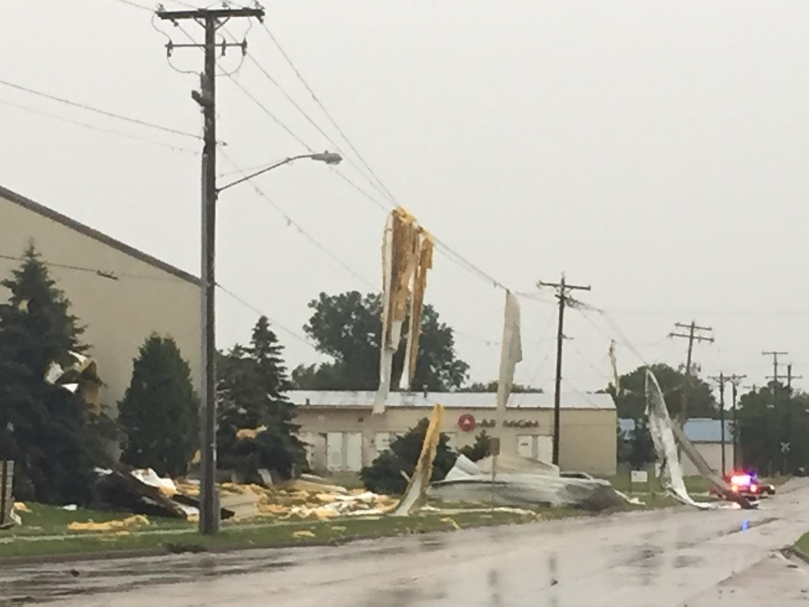 Appvion warehouse storm damage in Appleton, June 14, 2017. (WLUK/Alex Ronallo)