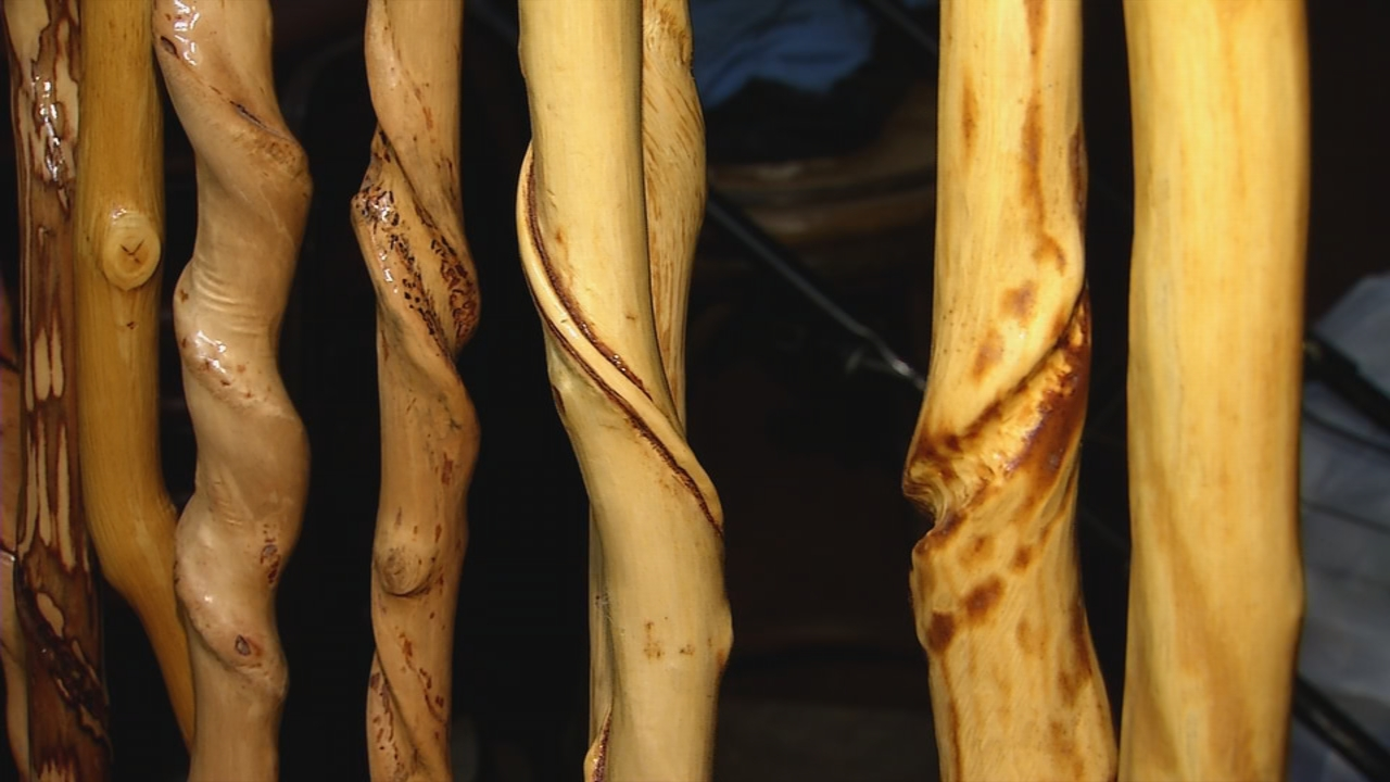 Paul's finished walking sticks are true works of art. (WCHS/WVAH)<p></p>