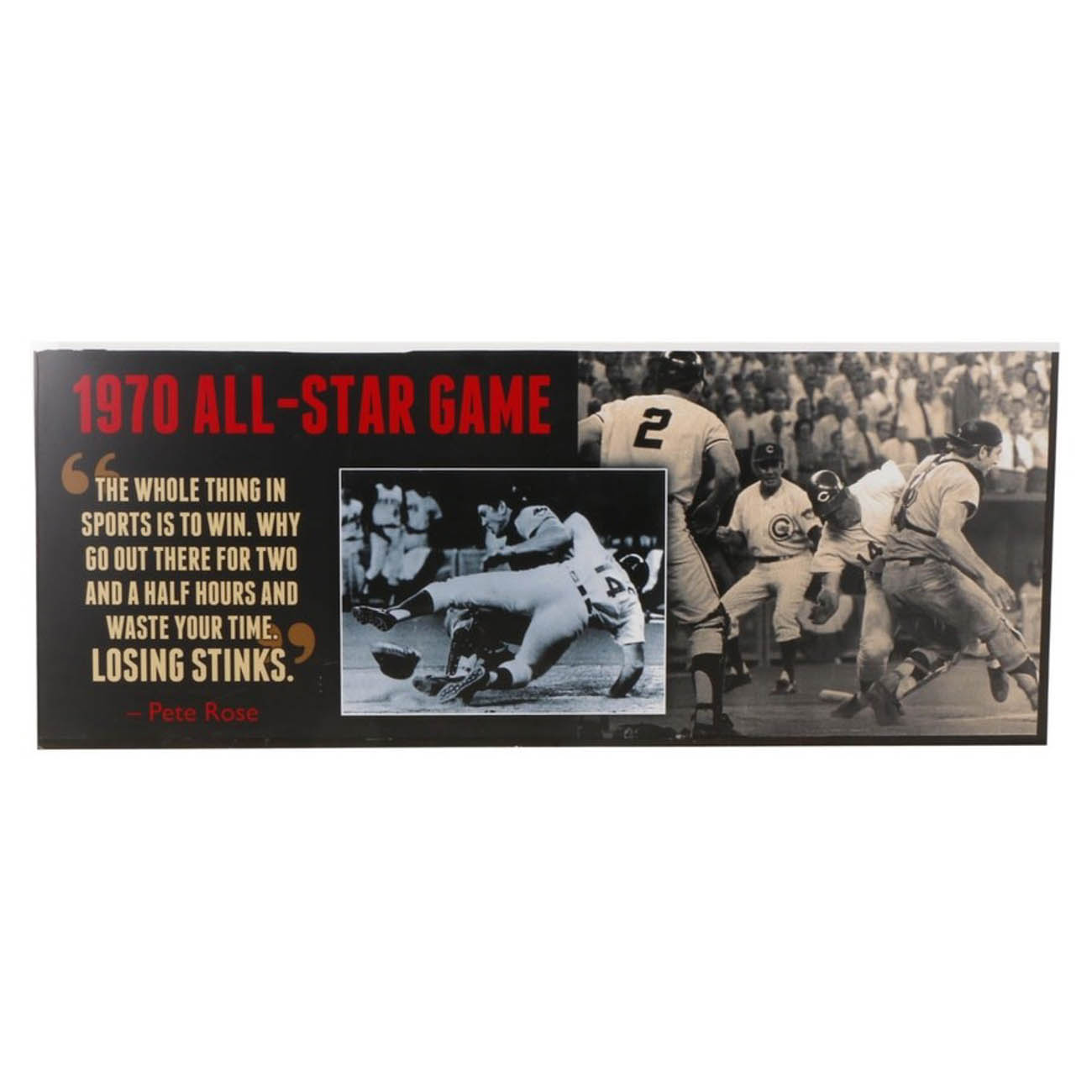 This large All-Star Game sign from the 1970s features the famous collision of Pete Rose and Ray Fosse. It is 120 inches wide and 48 inches tall.  / Image courtesy of Everything But The House (EBTH) // Published: 12.6.18