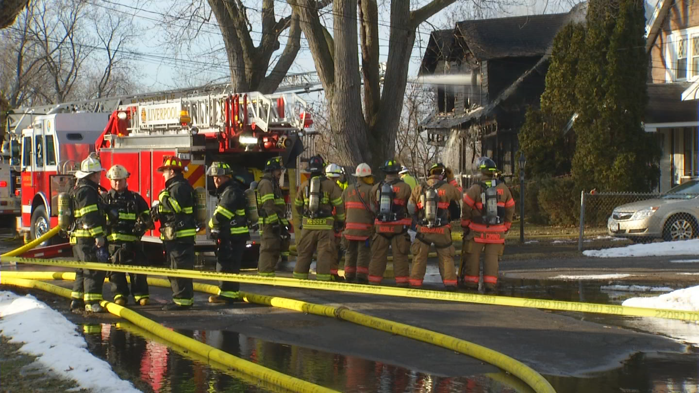 Officials say a four day old child and a 3-year-old were among six people who escaped a fire as the blaze ripped through their home in Mattydale Monday morning.
