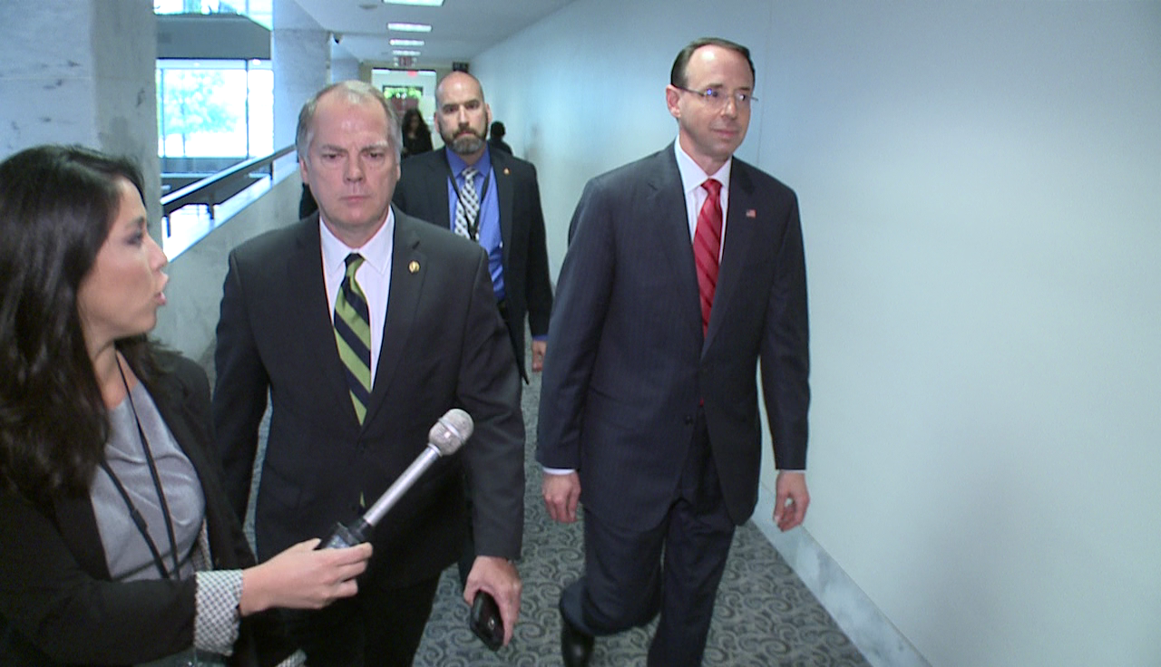 Deputy Attorney General Rod Rosenstein meets with leaders of the Senate Intelligence Committee on Capitol Hill on Thurs. May 11, 2017. (Sinclair Broadcast Group)