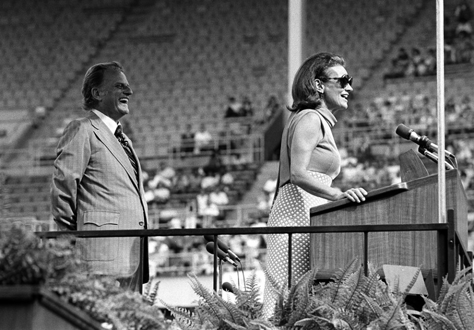 "Billy Graham considered his wife his greatest spiritual adviser. ""When it comes to spiritual things, my wife has had the greatest influence on my ministry,"" he said. Here, Ruth speaks during the 1972 Cleveland, Ohio, Crusade. (Photo: Billy Graham Evangelistic Association)"