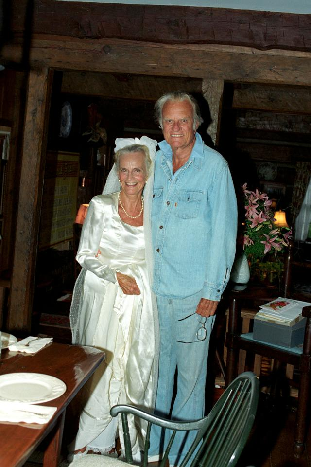 Billy and Ruth Graham celebrated 50 years of marriage in 1993, and Ruth tried on the handmade dress she wore as a young bride. (Photo: Billy Graham Evangelistic Association)