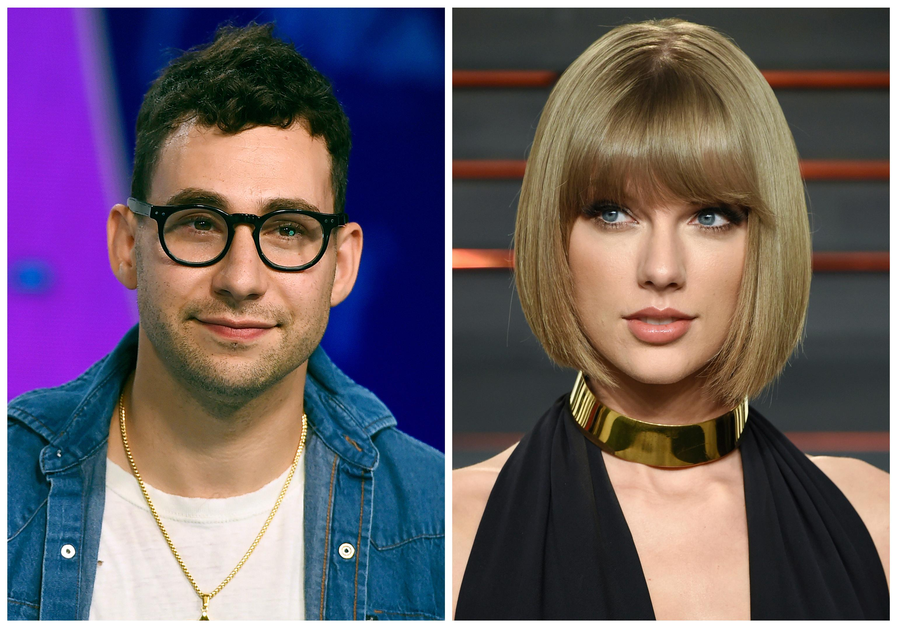 "In this combination photo, music producer  Jack Antonoff appears at the MTV Video Music Awards on Aug. 27, 2017, left, and Taylor Swift attends the Vanity Fair Fair Oscar Party in Beverly Hills, Calif. on Feb. 28, 2016. Antonoff is keeping quiet about who Swift is singing about in her new song, ""Look What You Made Me Do."" Antonoff co-wrote and co-produced the song that is rumored to be about Kanye West. (Photos by Jordan Strauss, left, and Evan Agostini/Invision/AP, File)"