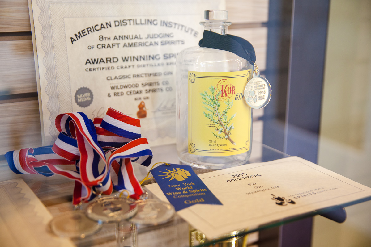 Awards for Kur gin (Image: Paola Thomas / Seattle Refined)