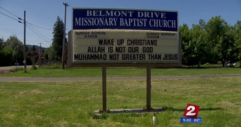 "The reader board outside the Belmont Drive Missionary Baptist Church now displays two messages. The first reads, ""Wake up Christians. Allah is not our God. Muhammad not greater than Jesus."" The second says, ""Only the Bible is God's word. 'Holy book.' Koran is just another book."" (KATU)"