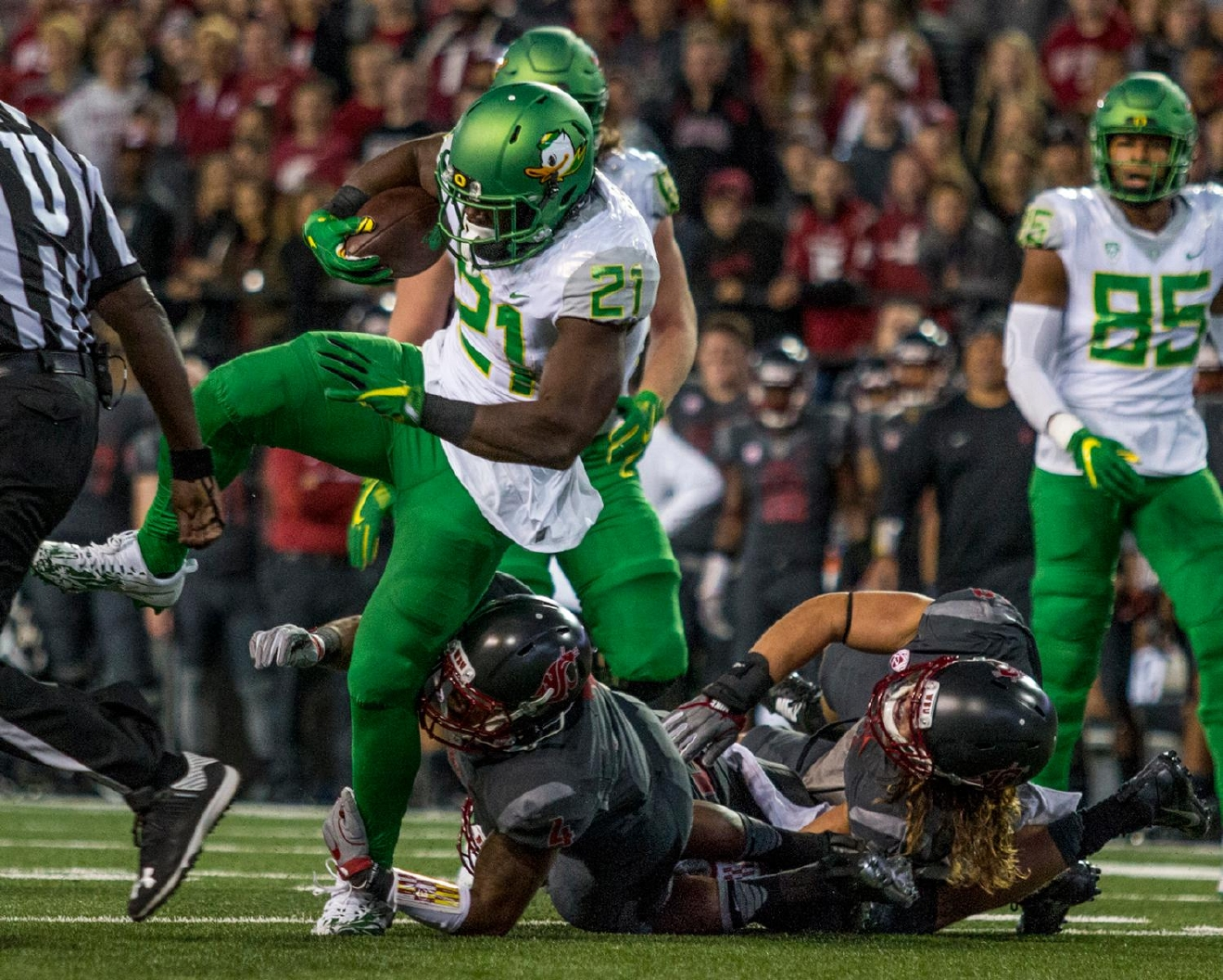 Oregon Ducks Royce Freeman (#21) evades Washington State Cougars defense as he rushes down the field. The Cougars beat the Ducks 51-33 at Martin Stadium on Saturday evening. Photo by Katie Pietzold