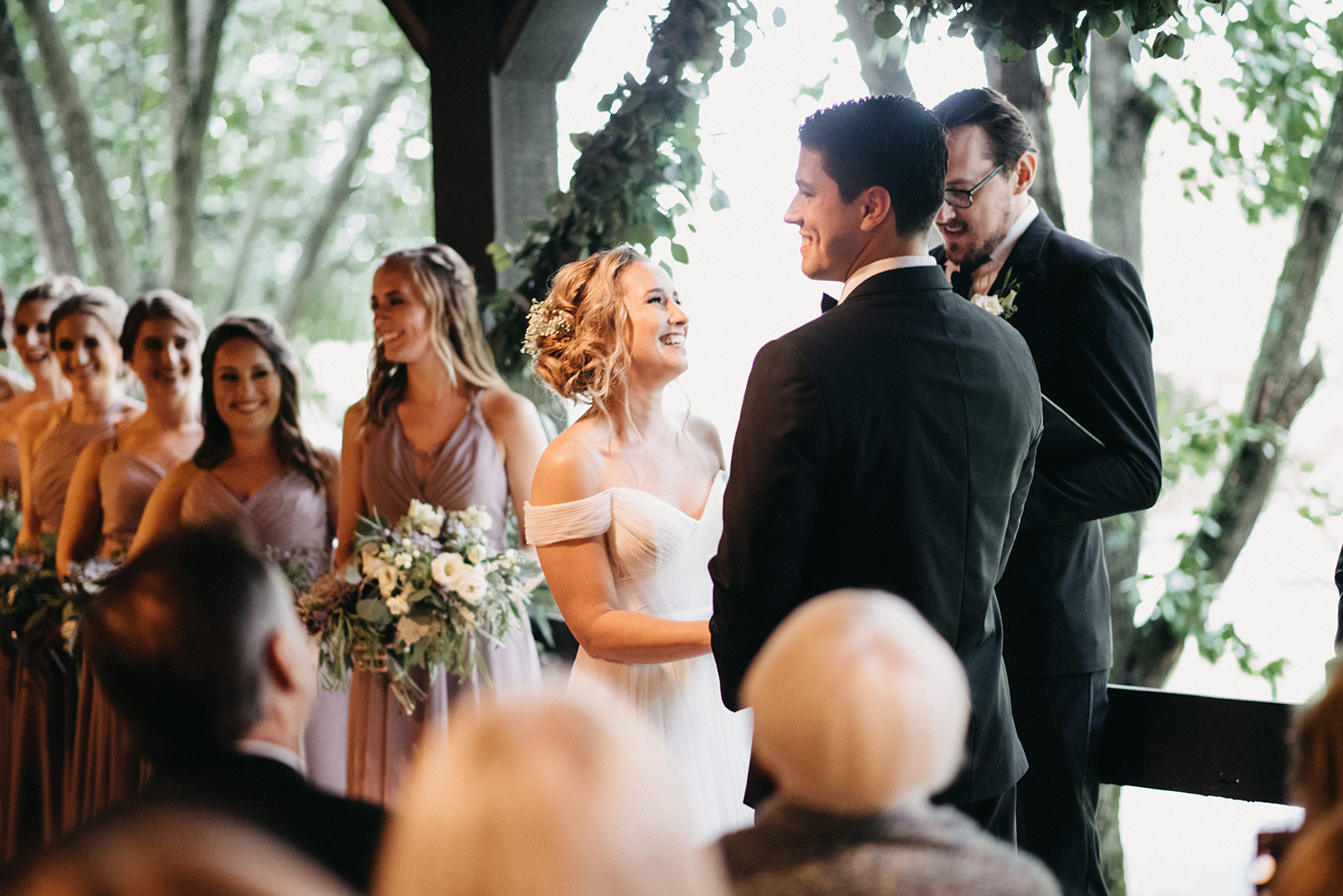 "{ }""Walking into the ceremony, surrounded by friends and family and seeing Alex at the end of the aisle."" (Image:{ }Jeff ThatcherPhotography)"