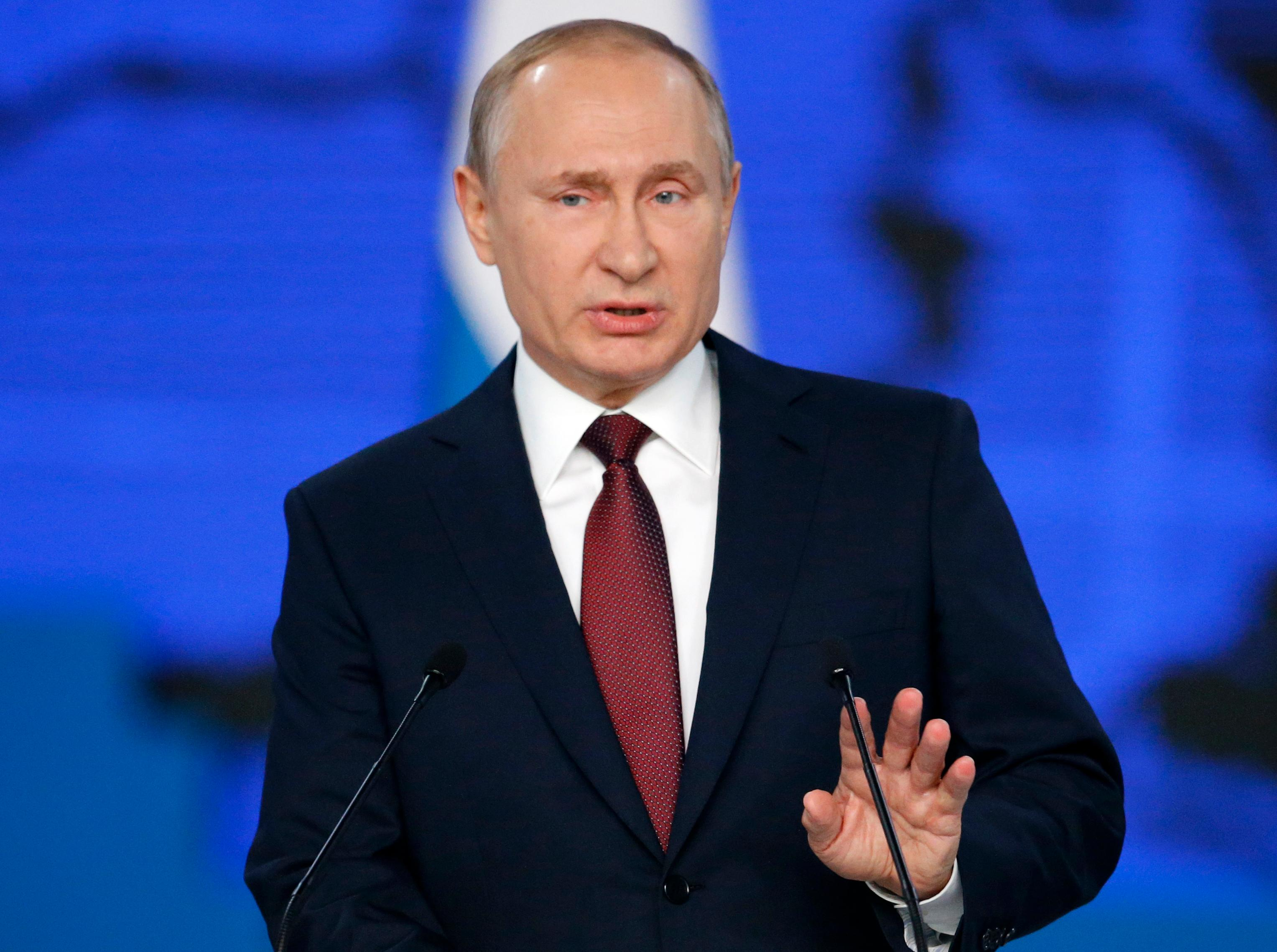Russian President Vladimir Putin delivers a state-of-the-nation address in Moscow, Russia, Wednesday, Feb. 20, 2019. (AP Photo/Alexander Zemlianichenko)