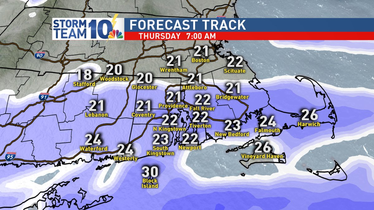 A clipper will bring flurries towards the coast on Thursday, Dec. 14, 2017. (WJAR)