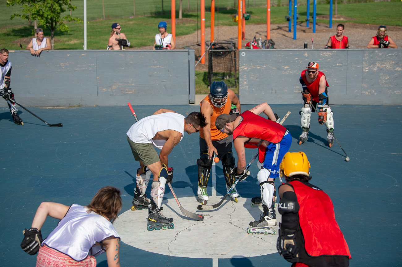 The Covington Street Hockey League is a grassroots organization created by NKY residents who have a passion for both hockey and improving their community. Regarding improvements, the league aims to raise funds to renovate Kenny Shields Park in Covington. Games are played on Thursday evenings at 5 PM at Evans Park in Cincinnati and on Saturday mornings at 10 AM Kenny Shields Park. Antics are had in the form of post-game press conferences at Gypsy's. The team welcomes any and all who love the game and giving back to Covington. / Image: Chris Jenco // Published: 8.9.18