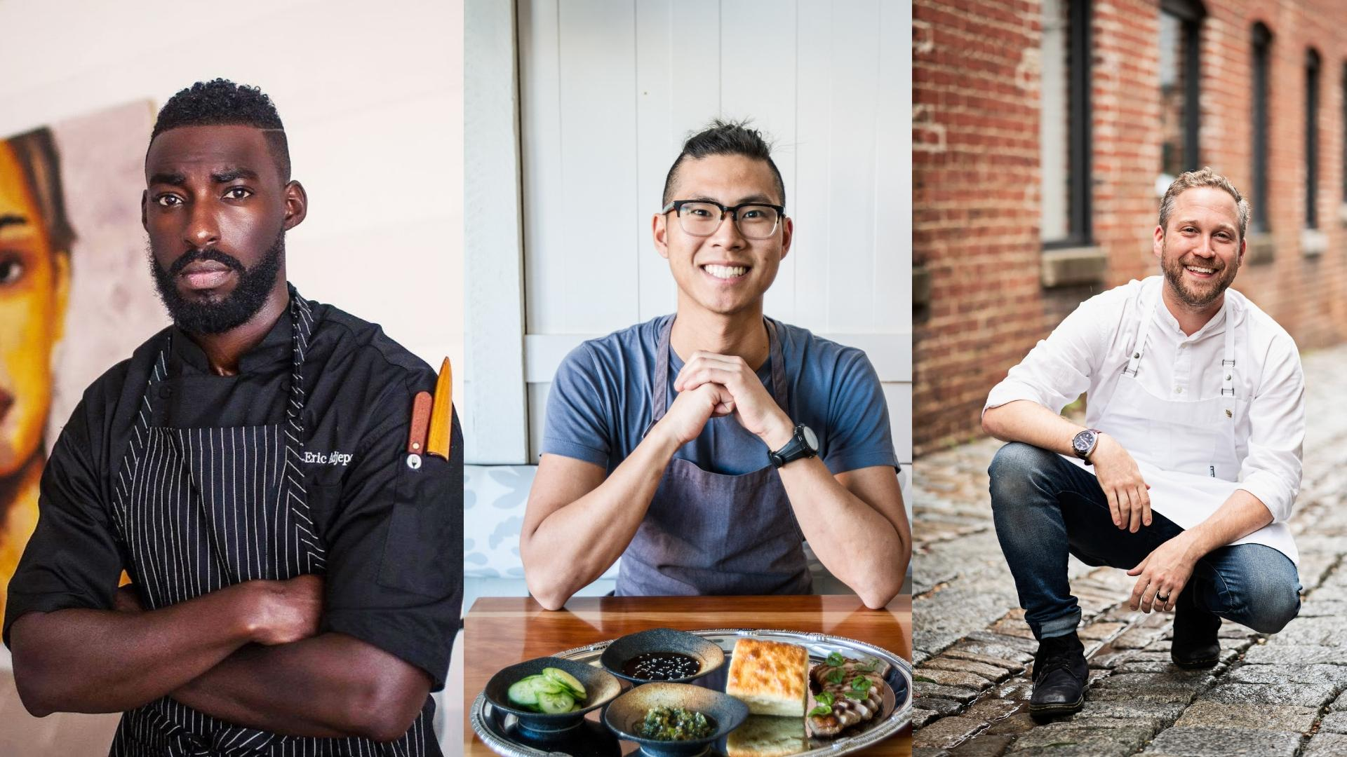 "Three D.C. chefs have been named finalists for People Magazine's ""Sexiest Chefs Alive"" feature. (Images L to R: Courtesy Eric Adjepong, Farrah Skeiky/Dim Sum Media and Scott Suchman)"