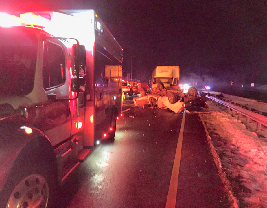 Two tractor trailers and a pickup truck have been involved on I-495 near Old Georgetown Road.{ } Wednesday, Jan. 16, 2019.{ }(Pete Piringer/Montgomery County Fire and Rescue)