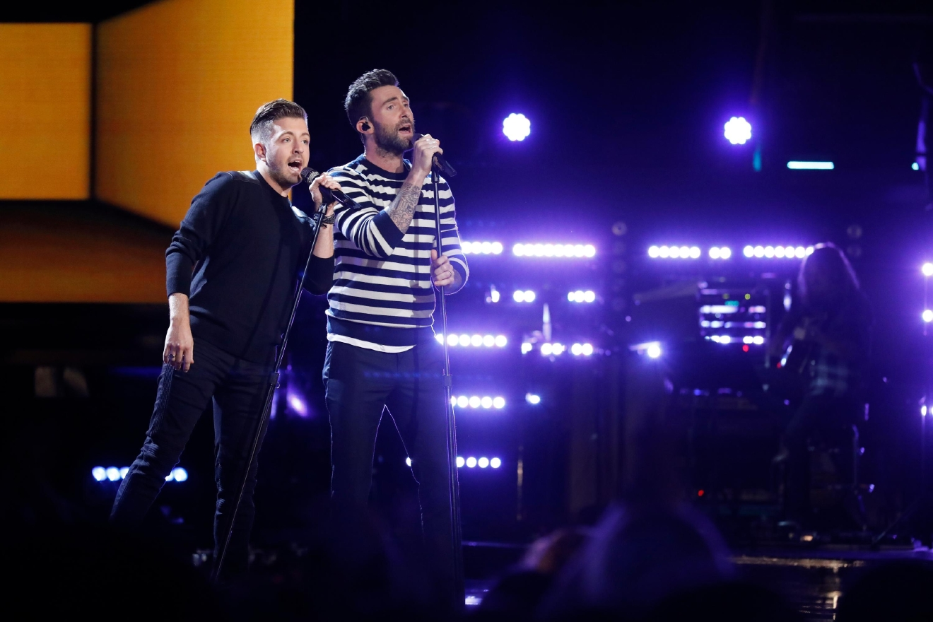 "Billy Gilman performs with Adam Levine on the live finale of ""The Voice."" (Photo by: Trae Patton/NBC)"