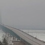 Mackinac Bridge under high wind warning