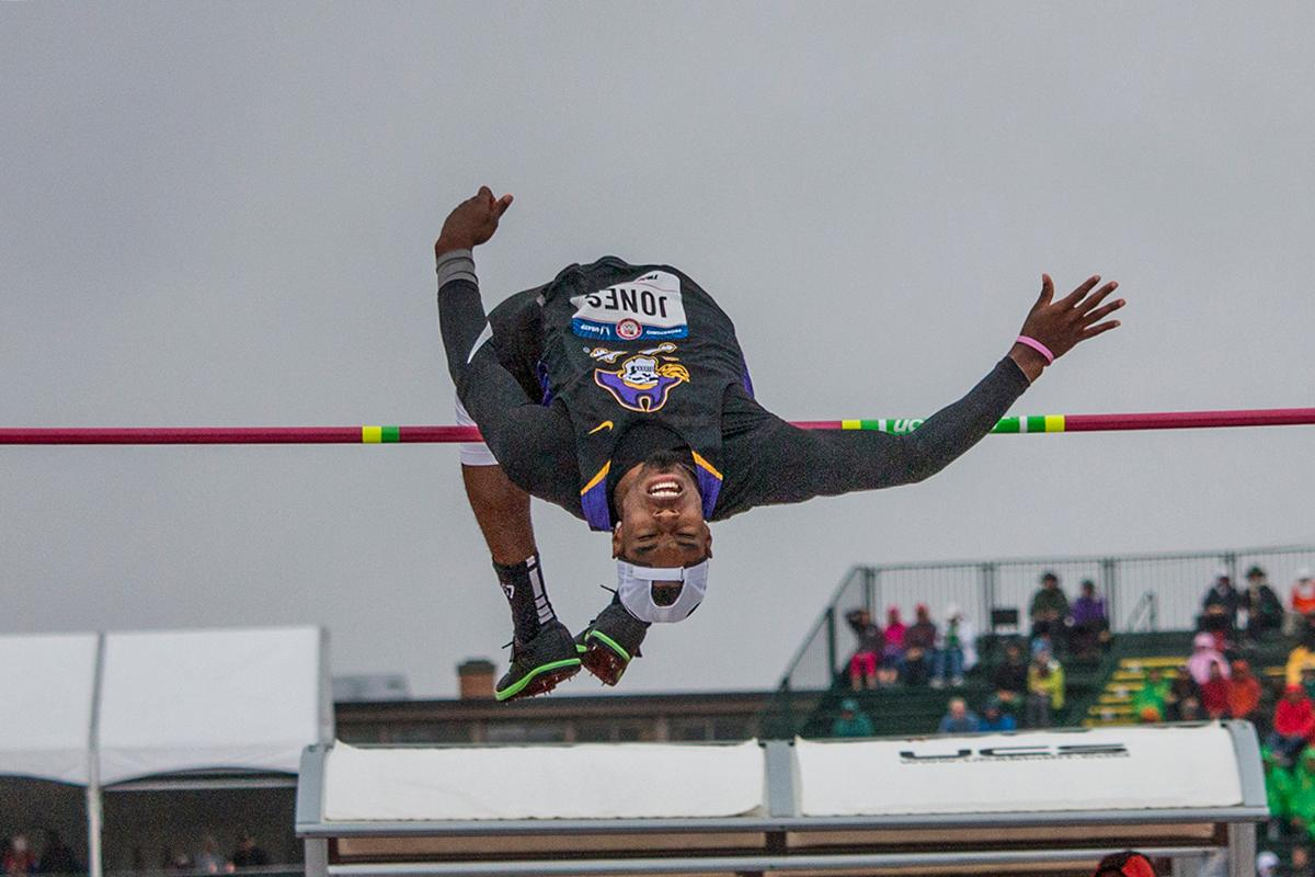 East Carolina�s Avion Jones completes an attempt during the men�s high jump finals. Day Ten of the U.S. Olympic Trials Track and Field concluded on Sunday at Hayward Field in Eugene, Ore. Competition lasted July 1 - July 10. Photo by Katie Pietzold