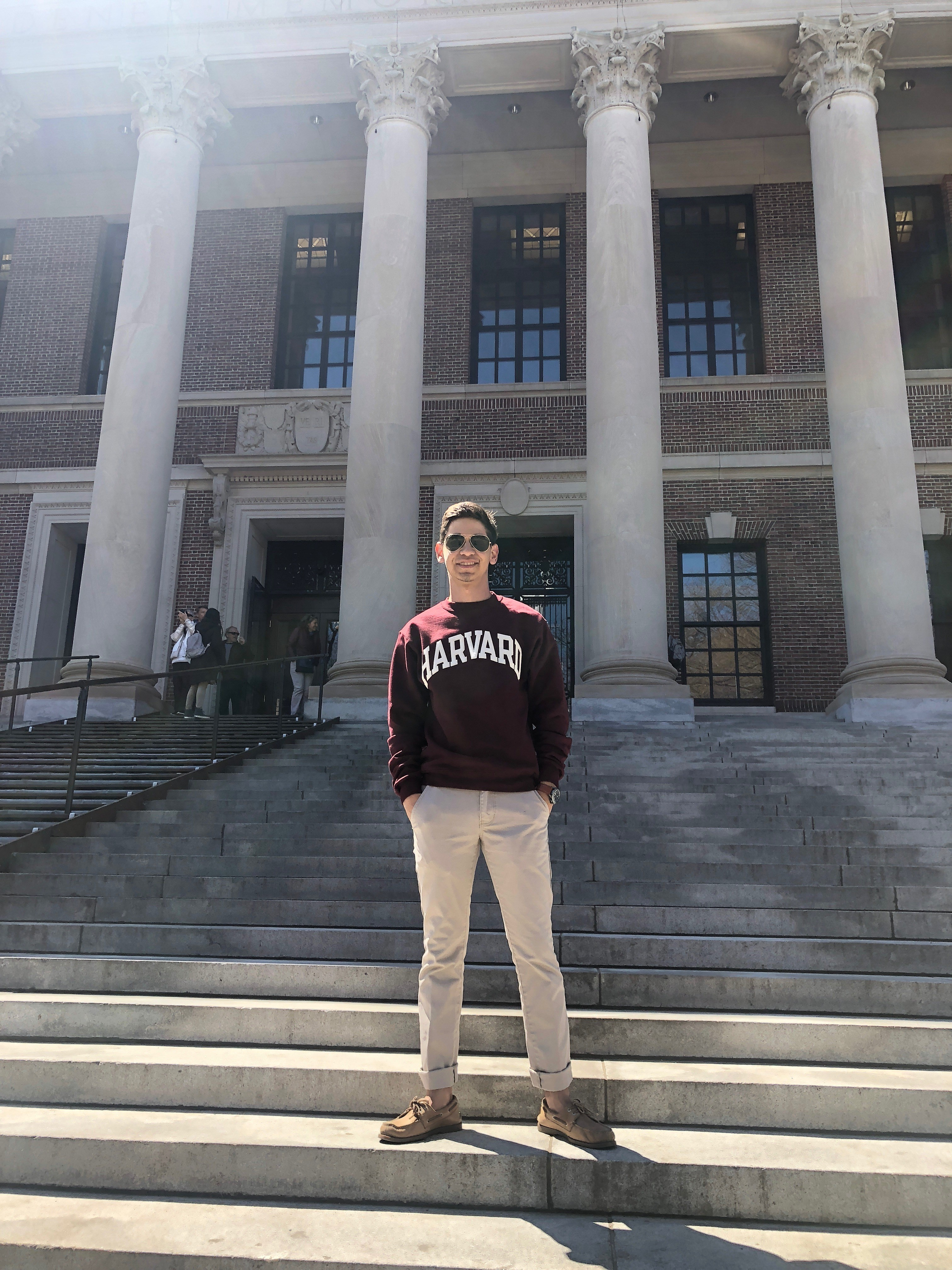 Abraham Castaneda visiting Harvard University, the college he'll attend this fall. (Photo courtesy Daisy Castaneda).