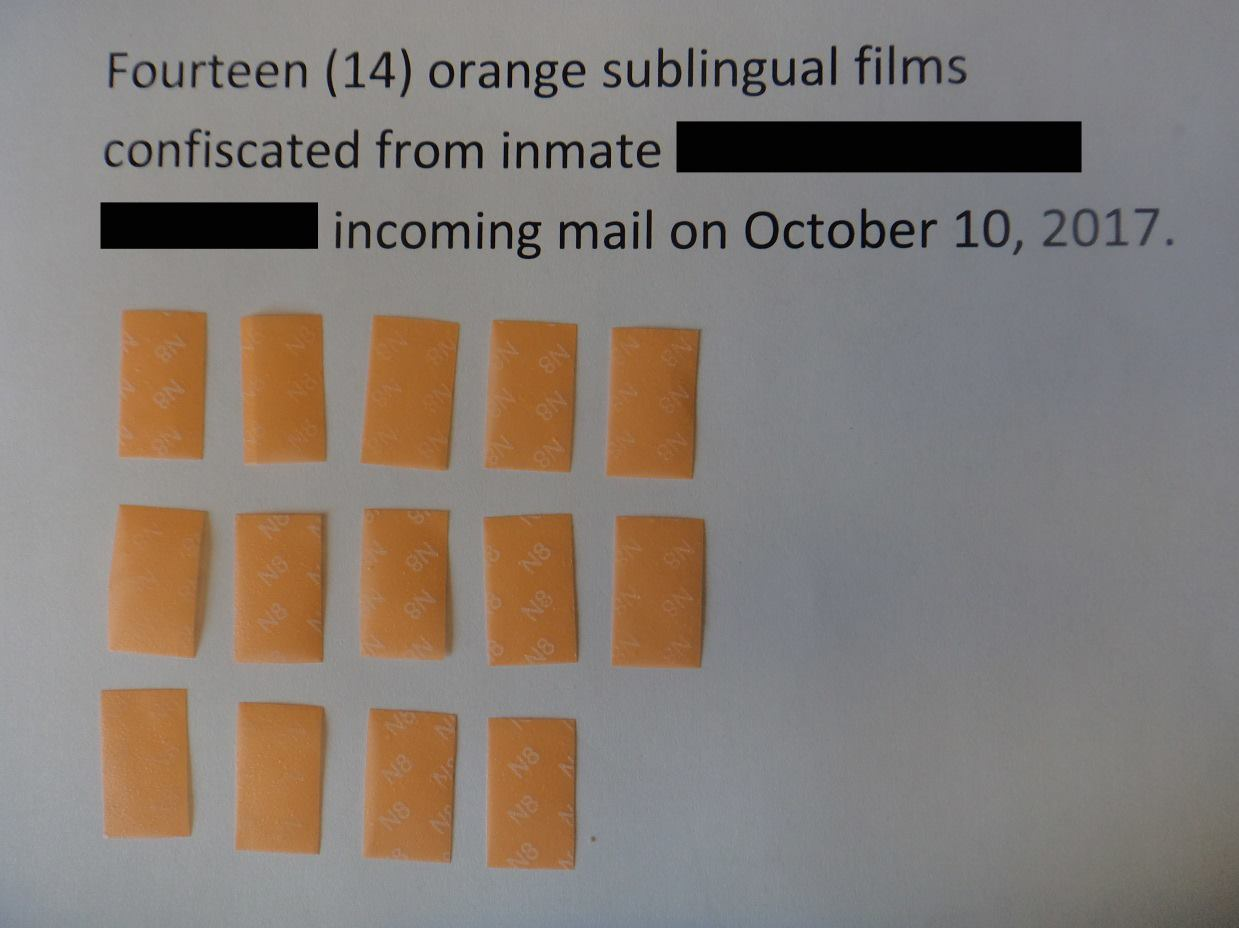 Prison officials in Massachusetts say someone tried to send drugs to an inmate by mailing a laminated prayer card that contained wafer-thin strips of a prescription narcotic. (Massachusetts Department of Correction)