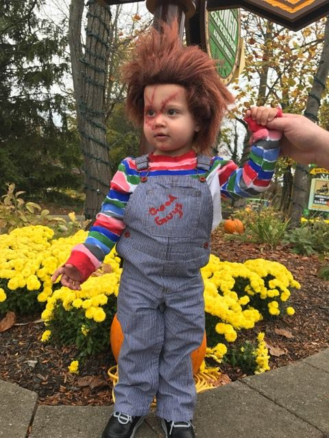 Brittanie Gray shared this one of Preston all dressed up as Chucky, from the classic horror films
